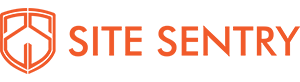 PNG image of Site Sentry logo. text is in orange sans serif font with shield icon on left.