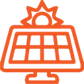 PNG image of computer icon. clear filling. orange lining. screen has a grid of 4 boxes in two rows.